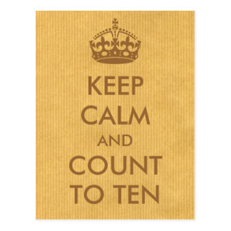 Keep Calm and Count to Ten Natural Kraft Paper Postcard