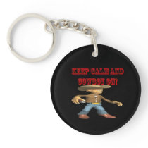 Keep Calm And Cowboy On 2 Keychain