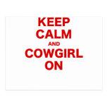 Keep Calm and Cowgirl  On Postcard