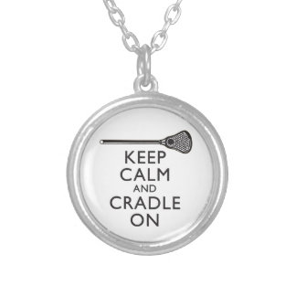 Keep Calm And Cradle On Lacrosse Silver Plated Necklace