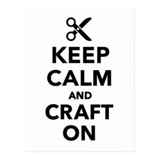 Keep calm and craft on postcard