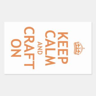 Keep Calm and Craft On Rectangular Sticker