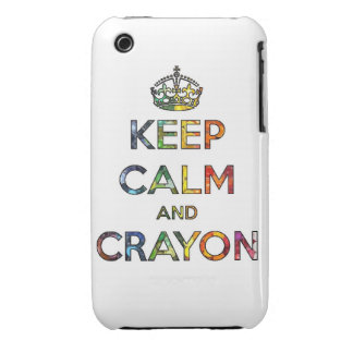 Keep Calm and Crayon draw drawing kid kids funny c iPhone 3 Case