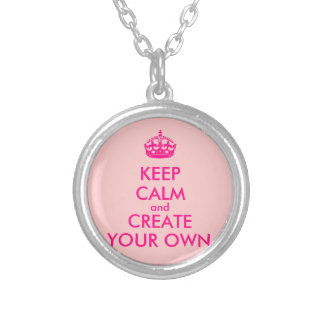 Keep calm and create your own - Pink Silver Plated Necklace