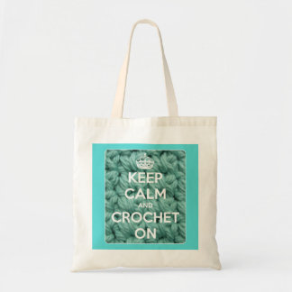 Keep Calm and Crochet On Blue Budget Tote Bag