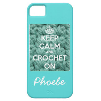 Keep Calm and Crochet On Blue iPhone SE/5/5s Case