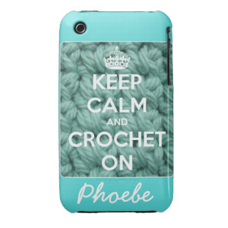 Keep Calm and Crochet On Blue Personalized iPhone 3 Case-Mate Case