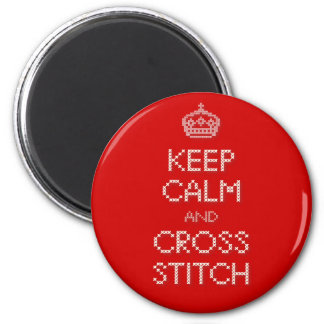 Keep Calm and Cross Stitch 2 Inch Round Magnet