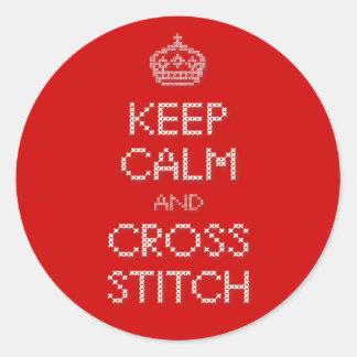 Keep Calm and Cross Stitch Classic Round Sticker
