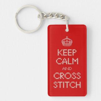 Keep Calm and Cross Stitch Keychain