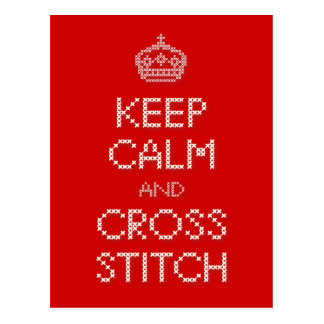 Keep Calm and Cross Stitch Postcard