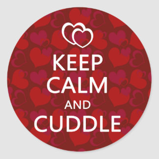 Keep Calm and Cuddle Classic Round Sticker
