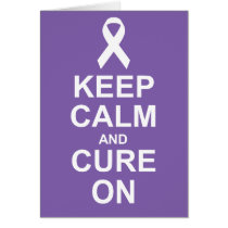 Keep Calm and Cure On Purple Thyroid Cancer card