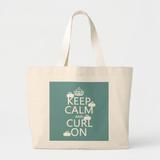 Keep Calm and Curl On (any color) Tote Bags
