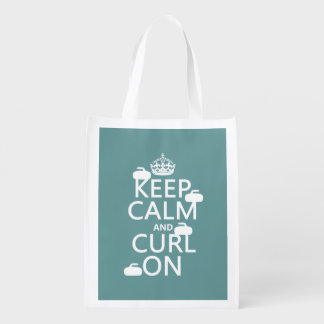 Keep Calm and Curl On (any color) Reusable Grocery Bag