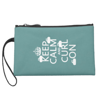 Keep Calm and Curl On (any color) Suede Wristlet