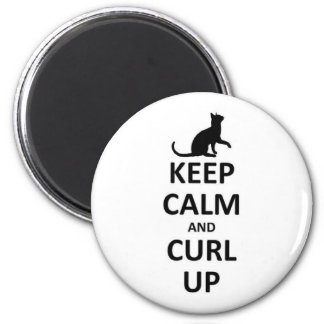 Keep calm and curl up 2 inch round magnet