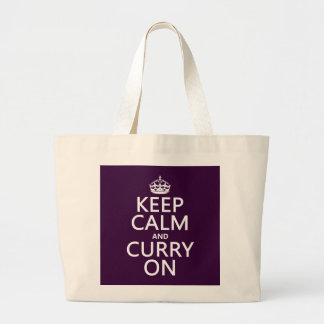 Keep Calm and Curry On Large Tote Bag