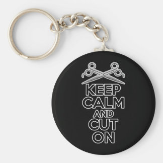 Keep Calm and Cut On Basic Round Button Keychain