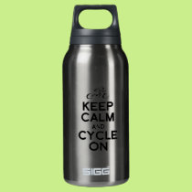 KEEP calm and cycle exercise bike biking bicycle r Insulated Water Bottle