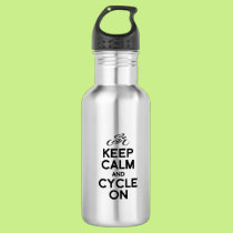 KEEP calm and cycle exercise bike biking bicycle r Stainless Steel Water Bottle