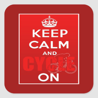 Keep Calm and Cycle on Cycling Square Sticker