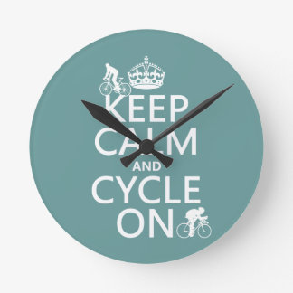 Keep Calm and Cycle On (in any color) Wall Clocks