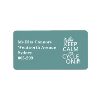 Keep Calm and Cycle On in any color Personalized Address Label
