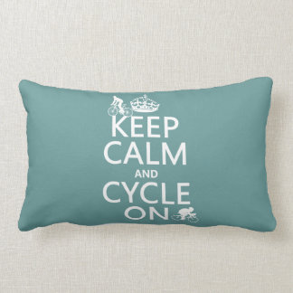Keep Calm and Cycle On (in any color) Lumbar Pillow