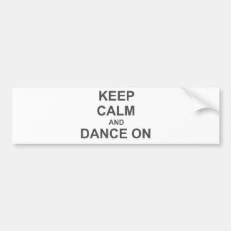 Keep Calm and Dance On black gray blue Bumper Sticker