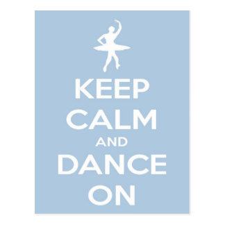 Keep Calm and Dance On Blue Postcard