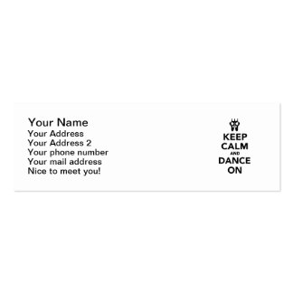 Keep calm and dance on business card template