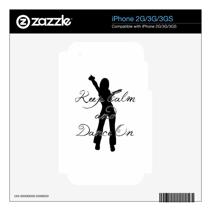 Keep Calm and Dance On Decals For iPhone 3GS