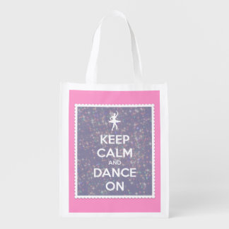 Keep Calm and Dance On Glitter Stars on Lavender Market Totes