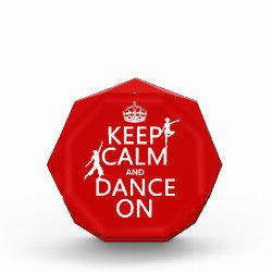 Small Acrylic Octagon Award with Keep Calm and Dance On design
