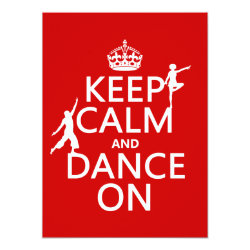 5.5' x 7.5' Invitation / Flat Card with Keep Calm and Dance On design