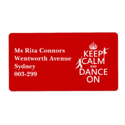 Shipping Label with Keep Calm and Dance On design