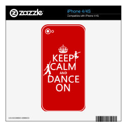 iPhone 4/4S Skin with Keep Calm and Dance On design
