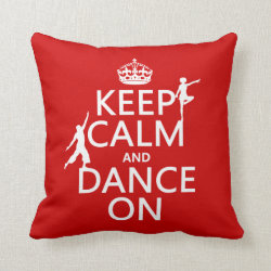 Cotton Throw Pillow with Keep Calm and Dance On design