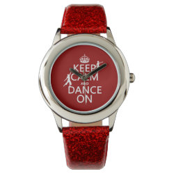 Kid's Red Glitter Strap Watch with Keep Calm and Dance On design