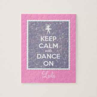 Keep Calm and Dance On Lavender Bokeh Jigsaw Puzzle