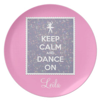 Keep Calm and Dance On Lavender Bokeh Plate