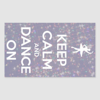 Keep Calm and Dance On Lavender Bokeh Rectangular Sticker
