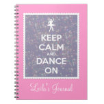 Keep Calm and Dance On Lavender Bokeh Spiral Note Book