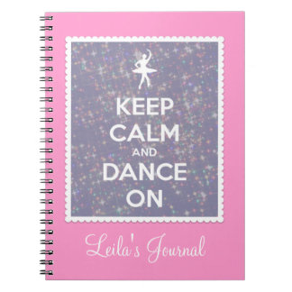 Keep Calm and Dance On Lavender Bokeh Spiral Notebook
