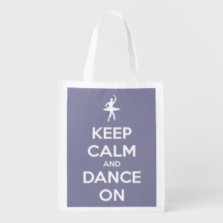 Keep Calm and Dance On Lavender Grey Personalized Reusable Grocery Bag