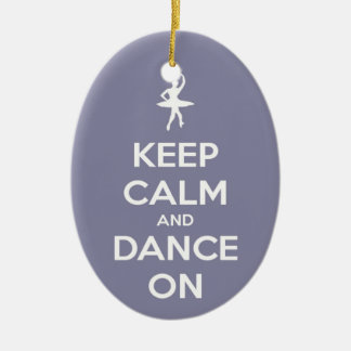 Keep Calm and Dance On Lavender Oval Ornament Ceramic Oval Ornament