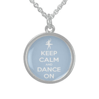 Keep Calm and Dance On Light Blue Round Pendant Necklace