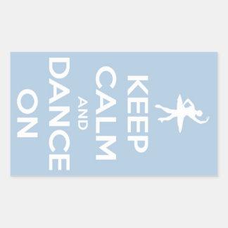 Keep Calm and Dance On Light Blue Sticker Rectangular Sticker