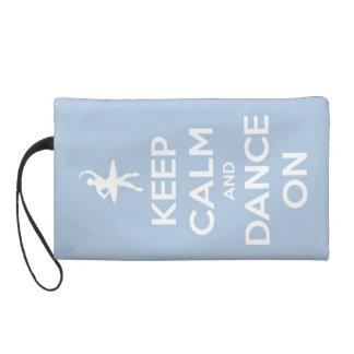 Keep Calm and Dance On Light Blue Wristlet